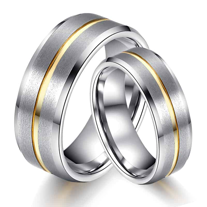 band media mens rings bandtungsten inlay wood wedding dome edge ring carbide tungsten black carbidetungsten