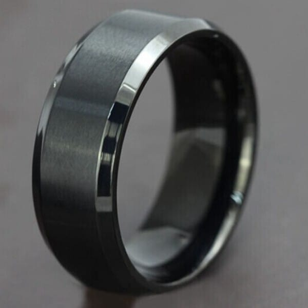 Home Tungsten Wedding Bands 8mm Mens Black Ring With Bevelled Edge
