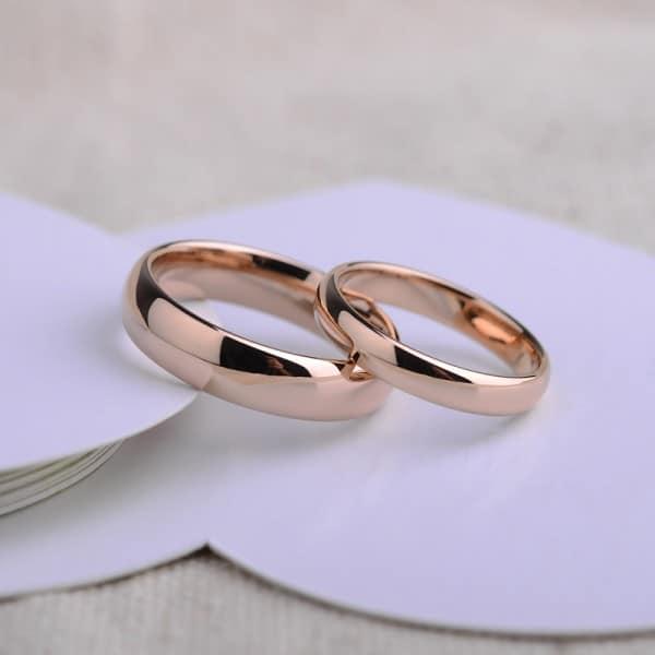 Tungsten Wedding Bands In Subtle Rose Color