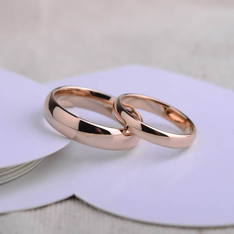 91a1f8ebc Subtle Rose Gold His and Hers Tungsten Wedding Bands
