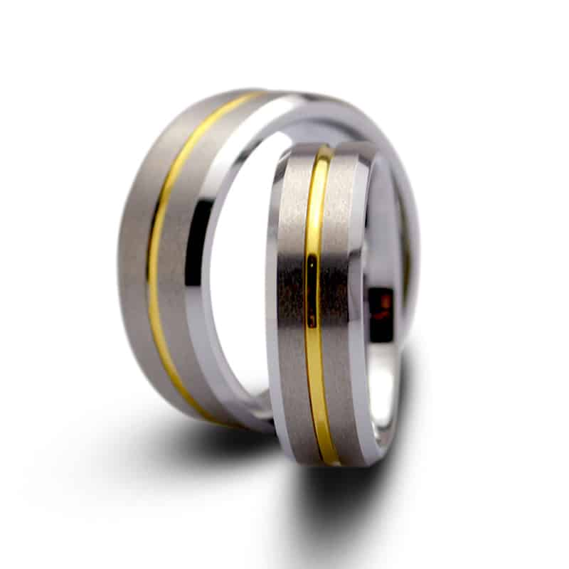 couples tungsten wedding rings with gold inlay