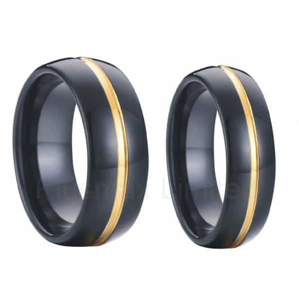Tungsten Wedding Bands In Black With 18k Gold Inlay Pair Matching 8mm Men 6mm Font B Women