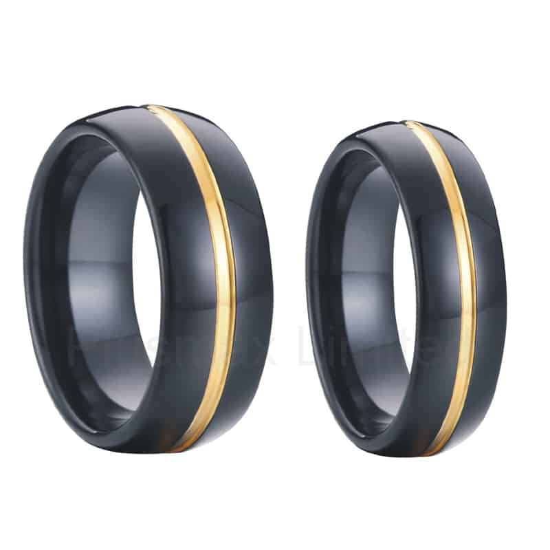 tungsten wedding bands in black with 18k gold inlay. Black Bedroom Furniture Sets. Home Design Ideas
