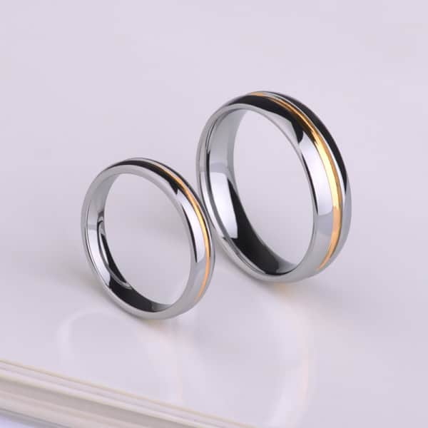 Tungsten Rings For Couples With Gold Groove In Mirror Finish