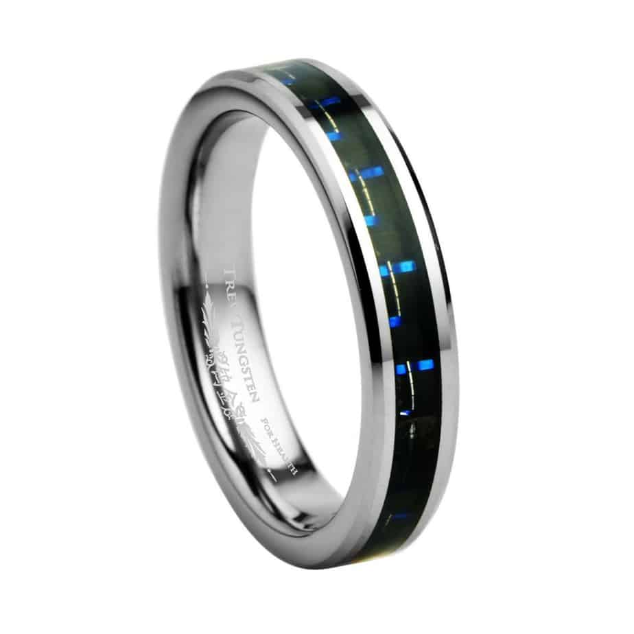 b08895cf32772 8mm Mens Tungsten Carbide Wedding Band with Black & Green Carbon Inlay