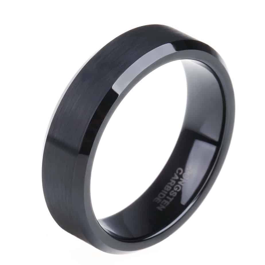 Brushed black tungsten band with grooved polished edges for Tungsten wedding ring reviews