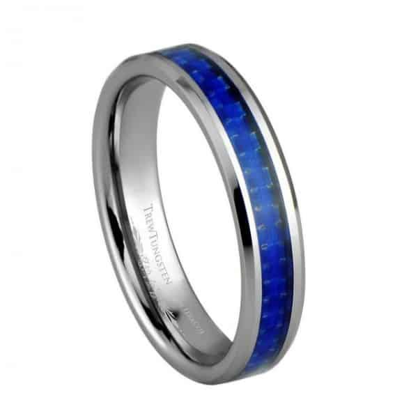 navy blue carbon fiber inlay tungsten ring