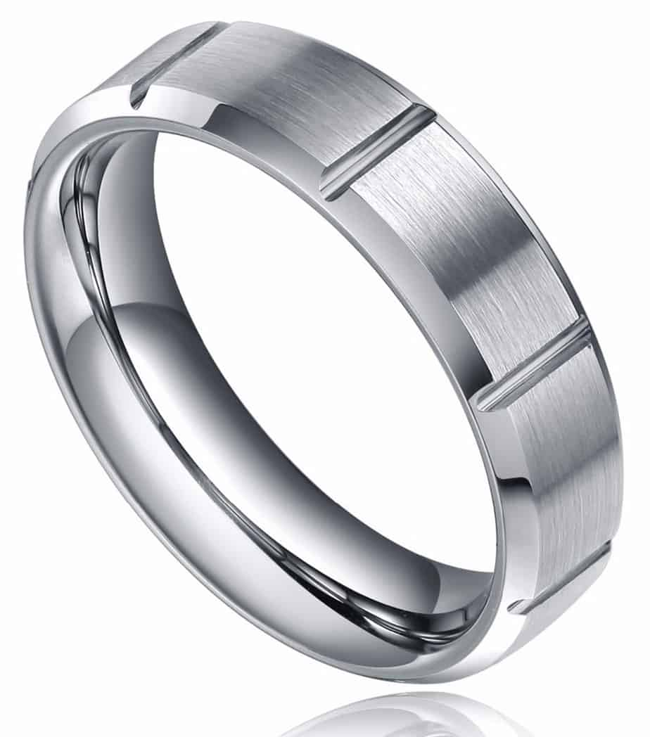 black carbide data band beveled polished bands bezel la wedding brushed tungsten diamond edge