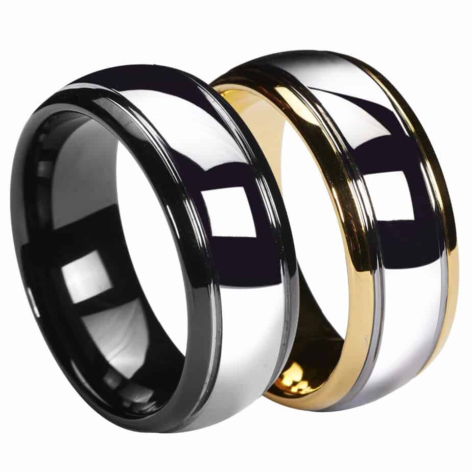 men polish ring golden store tungsten wedding women size band for two tone product slotted black engagement rings dome