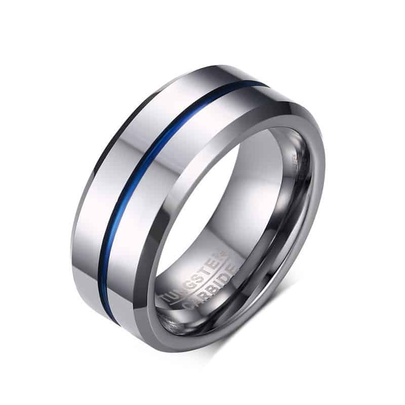 tungsten jewelry rings blue band tusen wedding mens plated line dp size ring carbide thin