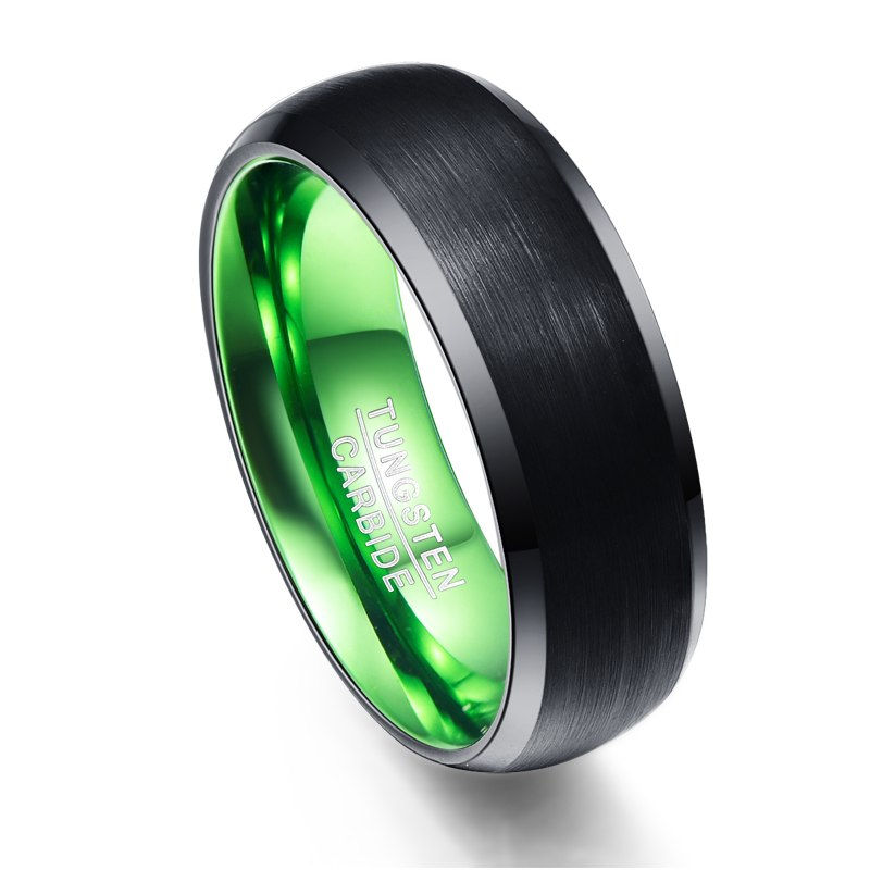 Mens Black Tungsten Wedding Bands.8mm Mens Black Tungsten Ring With Polished Green Interior