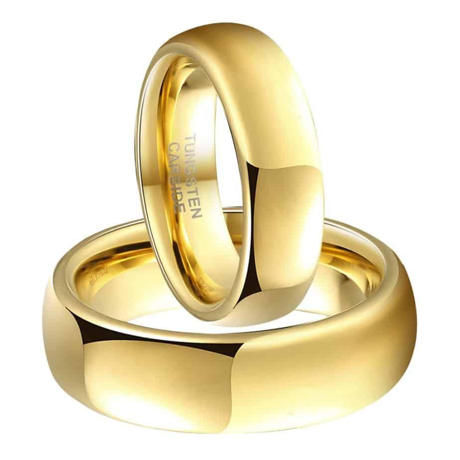 2aa740eb6db0d Gold Tungsten Carbide Matching Tungsten Wedding Bands