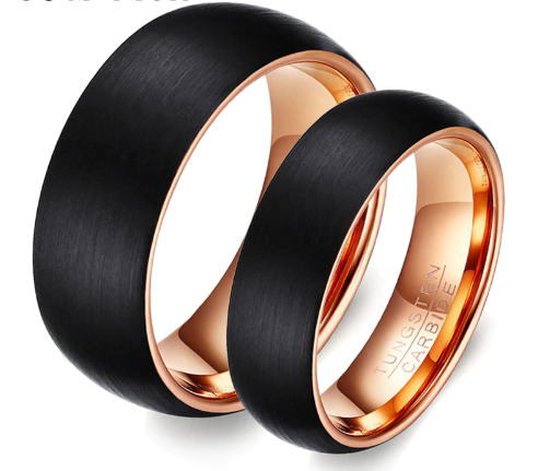 Black Wedding Bands.Black Rose Gold Matching Tungsten Wedding Bands