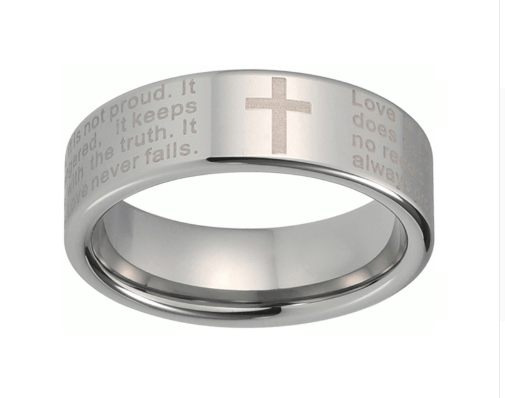 8mm Christian Scripture Cross Tungsten Carbide Wedding Band